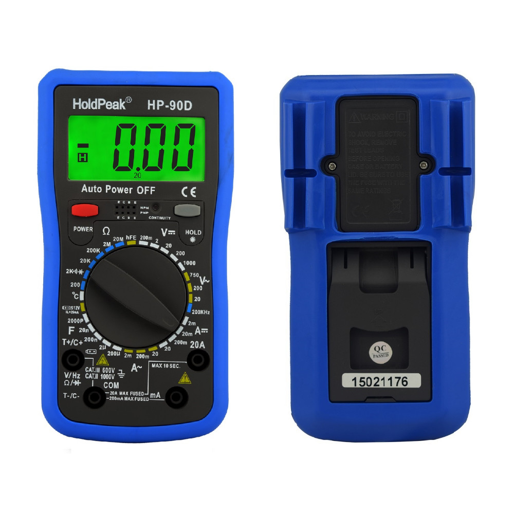 купить Multimeter Digital Holdpeak Professional Digital Multimeter Meter Multimetro Digital Temperature/frequency/capacitance Tester по цене 2120.84 рублей