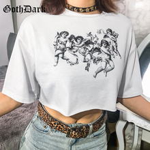 Goth Dark Aesthetic White Print T-shirts Women Gothic Style Summer 2019 Loose Crop Tops Sexy Casual Navel Asymmetrical T-shirt