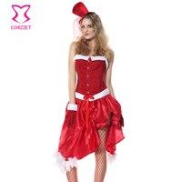 Halloween Red Sexy Santa Traje da Pele Do Falso das Mulheres Cosplay Fancy Dress Outfits Xmas Trajes Do Natal Para Adultos