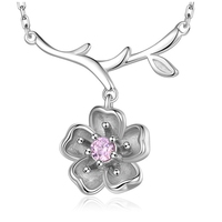 Fvermecky Trendy Cute Branch Plum Necklace Inlaid Crystal High Quality Pure Silver 925 Jewelry Women Christmas
