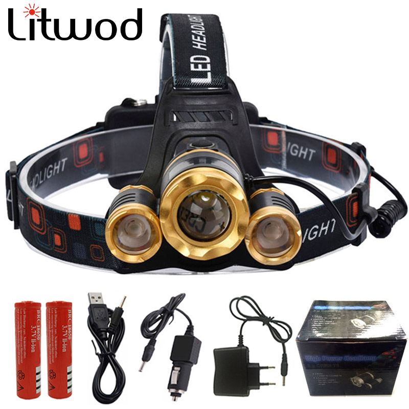 Z25 12000LM Led Headlight Zoom headlamp Rechargeable Head lamp Portable Head Torch 3* XM-L T6 / T6+2R5 for hunting camping Light zk40 cree xm l t6 led headlamp 3800lm zoomable head light waterproof head torch headlight torch lanterna rechargeable head light