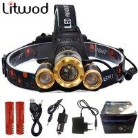 Z30 Led Headlight Zoom Headlamp XM L T6 Rechargeable Head Lamp Flashlight Head Torch XM L