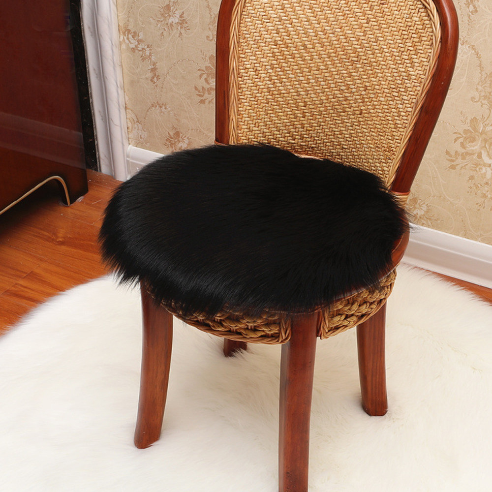 Chair Carpet-Seat Sheepskin-Rug Galette-De-Chaise Coussin Warm Almofada Soft Artificial