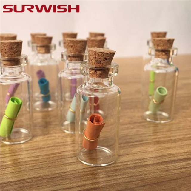 SURWISH 50Pcs 1ML Mini Empty Glass Bottles with Cork Stoppers Message Jars 11*22MM Small Gift Containers for wedding party