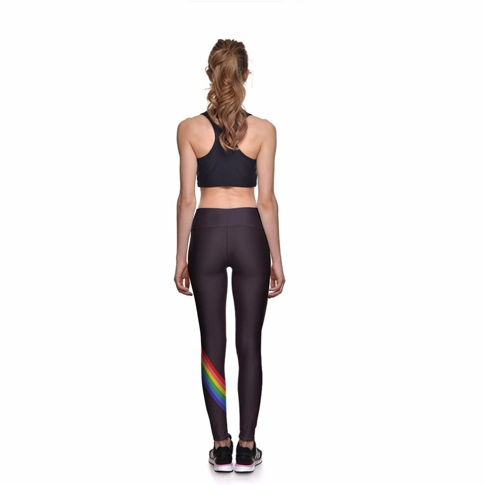 Summer new fashion personality rainbow striped casual leggings wild female sense Slim high waist nine points leggings