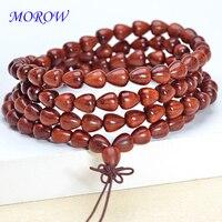 MOROW 108 Beads Natural Pterocarpus Red Sandalwood Round Bracelets Bead Buddha Prayer Bracelet Jewelry for Womens Mens Gift New