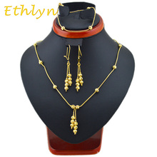Ethlyn New Fashion Beads Ethiopian  Style necklaces & earring& bracelets sets Gold Color jewellery Three  pcs party setsS9