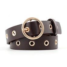 Женский кожаный ремень с круглой металлической пряжкой, круглые ремни от модного бренда в стиле панк с круглым кольцом для женщин