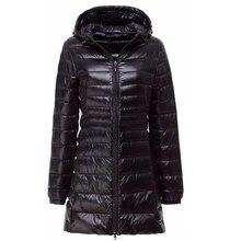 Пуховик, бренд, зимний пуховик для женщин, длинный пуховик на белом утином пуху, верхняя одежда, Сверхлегкий, с капюшоном, тонкое пальто 6XL 7XL