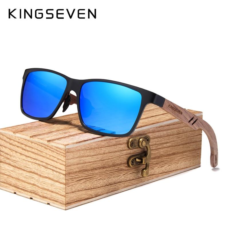 KINGSEVEN 2019 Wood Men Sunglasses Polarized Wooden Sun Glasses for Women Mirror Lens Handmade Fashion UV400 Eyewear Accessories 8