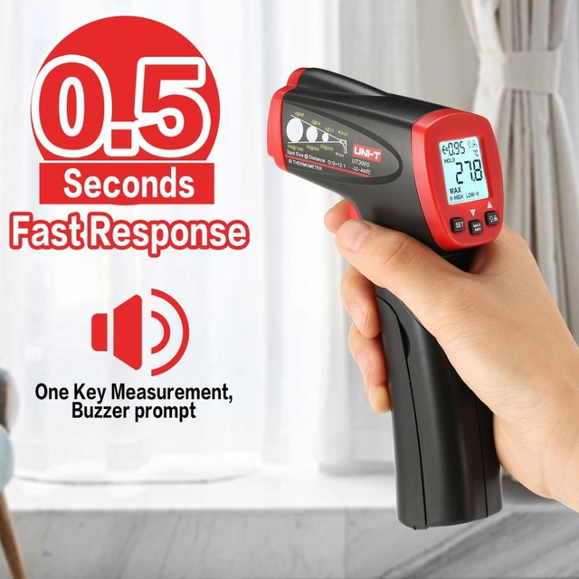 UNI-T UT300S Non-contact Digital Infrared Thermometer Gun Handheld IR Temperature Tester Industrial Pyrometer -32~400 degree