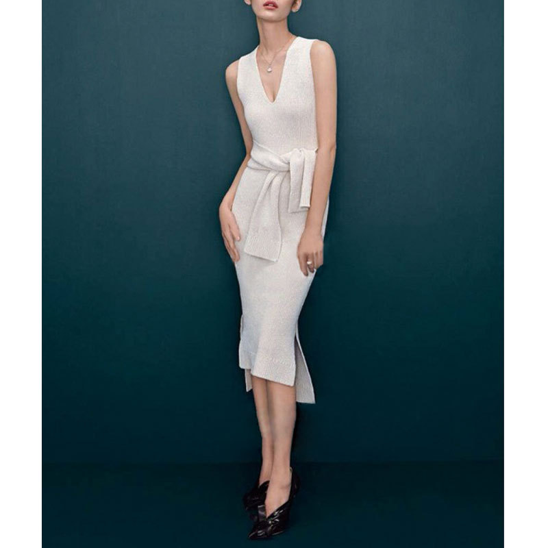 <font><b>2015</b></font> <font><b>Sexy</b></font> Women Dress white Sleeveless Bodycon OL Casual Pencil Dress fashion ladies temperament V -neck slim tank dress image