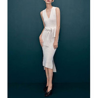 2015 сексуальное женское платье белого цвета без рукавов Bodycon ПР Повседневное карандаш платье от кутюр темперамент v образным вырезом Тонкий