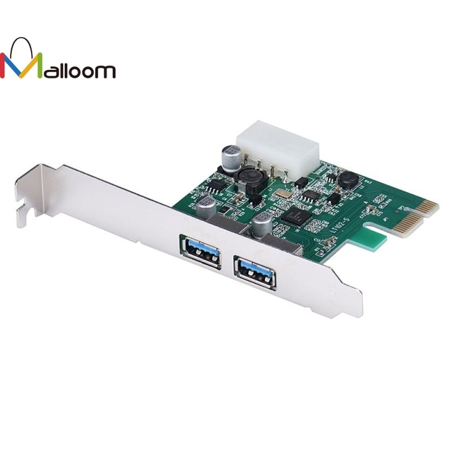 US $7 97 |Malloom PCI E Express USB3 0 2 Port HUB Card Adapter Super Speed  5Gbps USB Attached SCSI Protocol Bulk Only Transfer For Windows-in USB Hubs