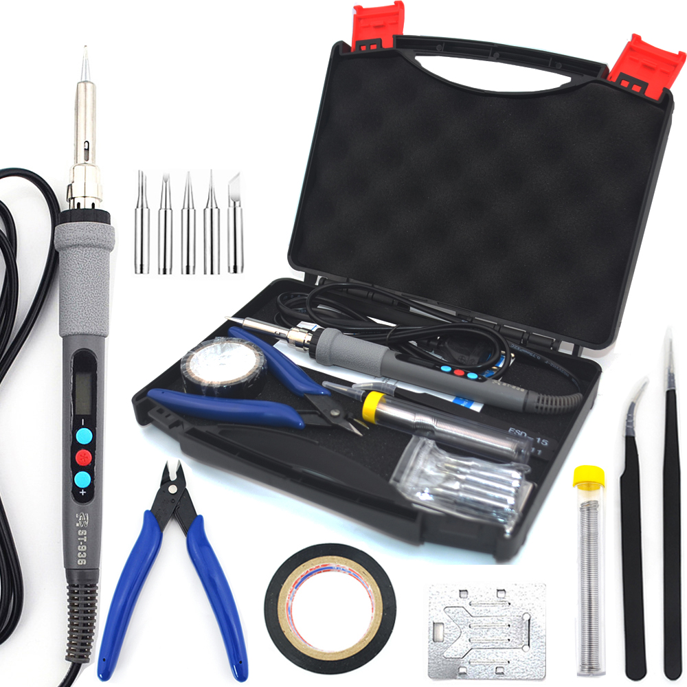 ST936 60W Digital Display Electric Soldering Iron Welding Set Soldering Iron Tip Pliers Tweezers Soldering Wire Kit