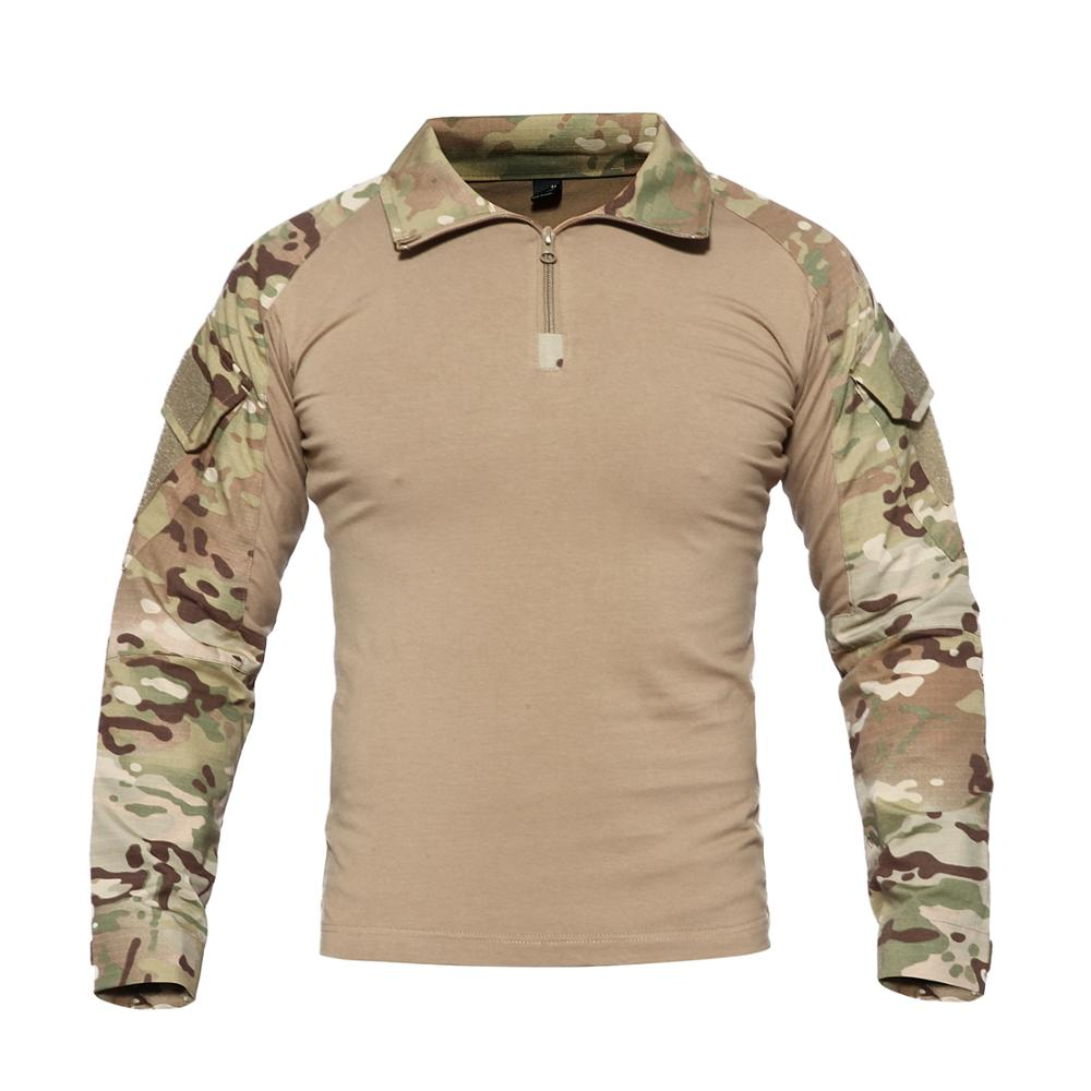 Men Tactical T Shirt SWAT Soldiers Military Combat T-Shirt Long Sleeve Camouflage Shirts Paintball T Shirts