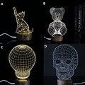 Decoración de la lámpara animal Gato y Oso De Madera clara de Acrílico 3D LED cráneo ilusión luz led moderna sala de estar lámpara de mesa micro usb noche luz