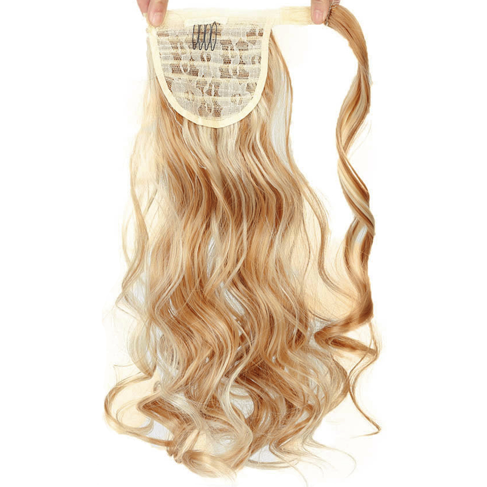 Long Postiche Hairpiece Ponytail Hair Extensions Clip In Hair Extension Natural Afro Straight Drawstring Ponytail Synthetic
