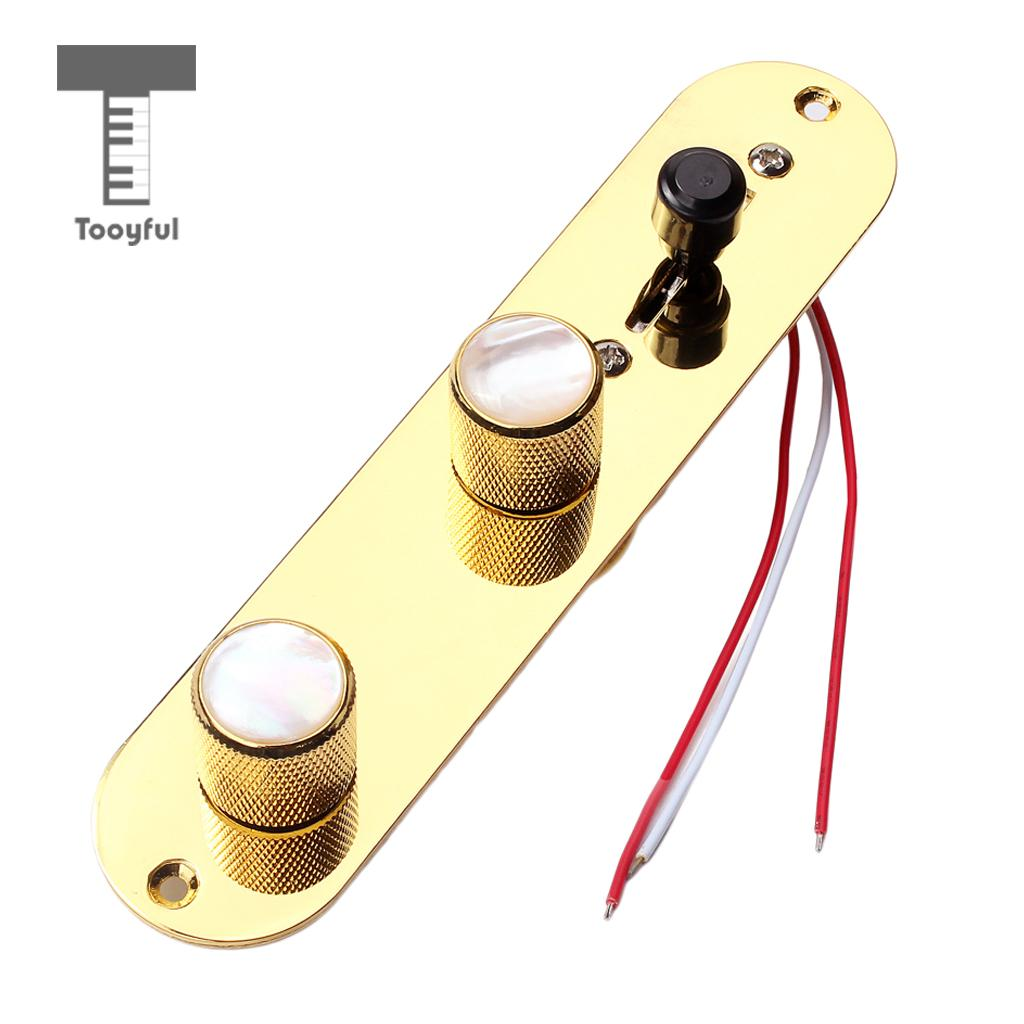Tooyful Gold 3 Way Wired Loaded Prewired Control Plate Harness Switch Knobs for TL Tele Telecaster Guitar Parts 2pcs gold plated wired control plate for jazz bass replacement parts