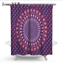 JaneYU 7 Colors  Life Waterproof Shower Curtain Fabric Polyester Bath curtains with hooks