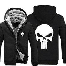 Anime skull The Punisher hoodies men 2017 spring winter jacket for men fleece thicken men sweatshirts men's coat brand-clothing