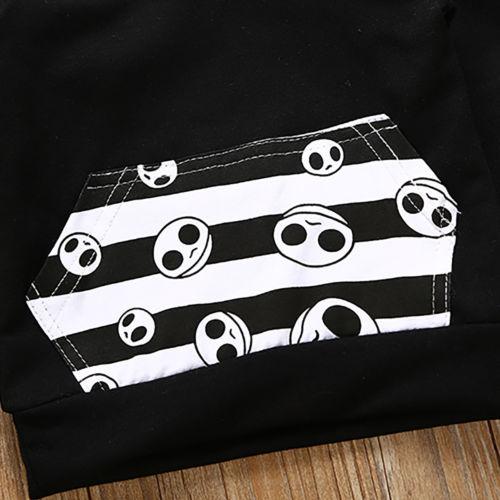 Хэллоуин одежда для малышей Одежда для мальчиков и девочек с капюшоном Брюки для девочек домашние наряды 2 шт. Комплект одежды