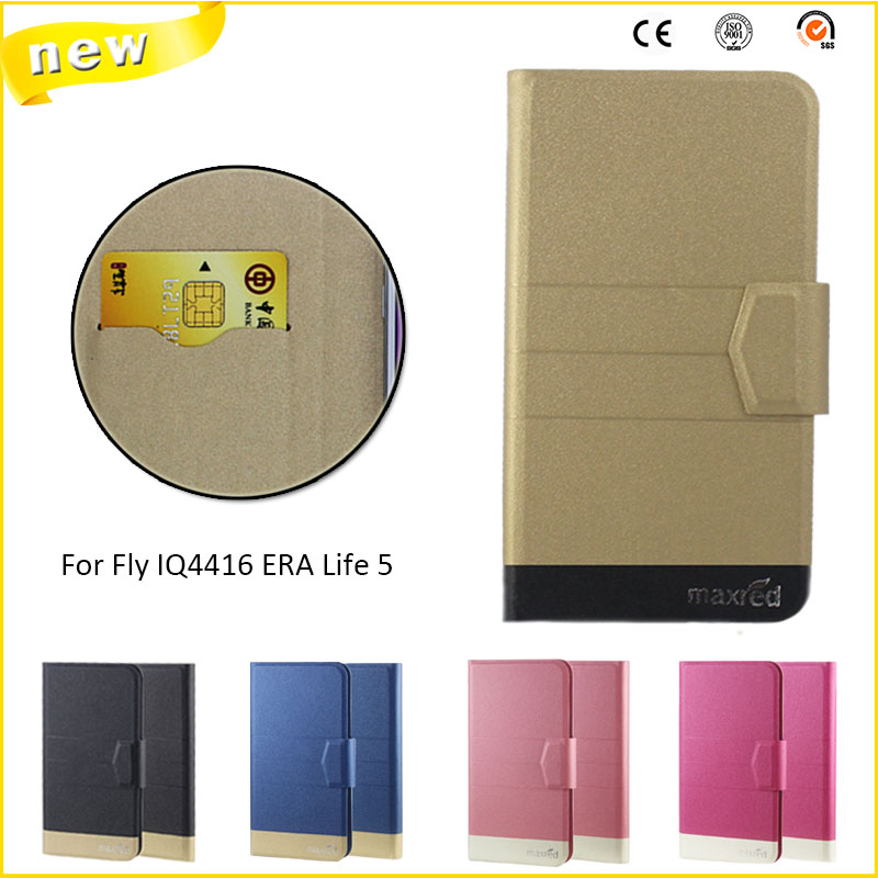 New Top Hot! Fly IQ4416 ERA Life 5 Cases,5 Colors High quality Full Flip Fashion Customize Leather Luxurious Phone Accessories