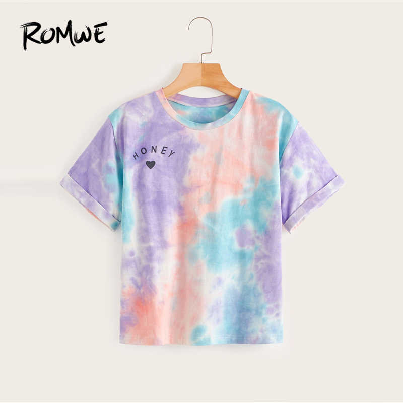 ROMWE Multicolor Tie Dye Brief Print T Frauen Sommer 2019 Rundhals Kurzarm T-Shirts Boho Casual Streetwear Tops