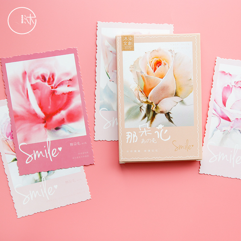 30 Sheets/Set Beautiful Flower Watercolor Series Postcard Greeting Card Birthday Gift Card Message Card