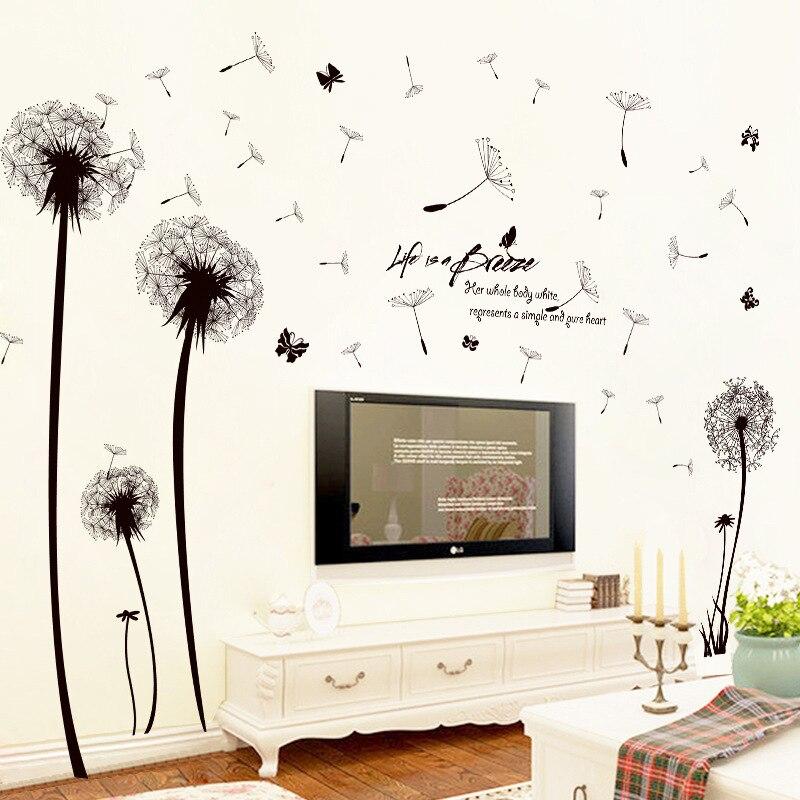 Black Romantic Dandelion PVC Wall Sticker Flower DIY Art Wall Stickers Home Decor Living Room TV Background Sticker Mural