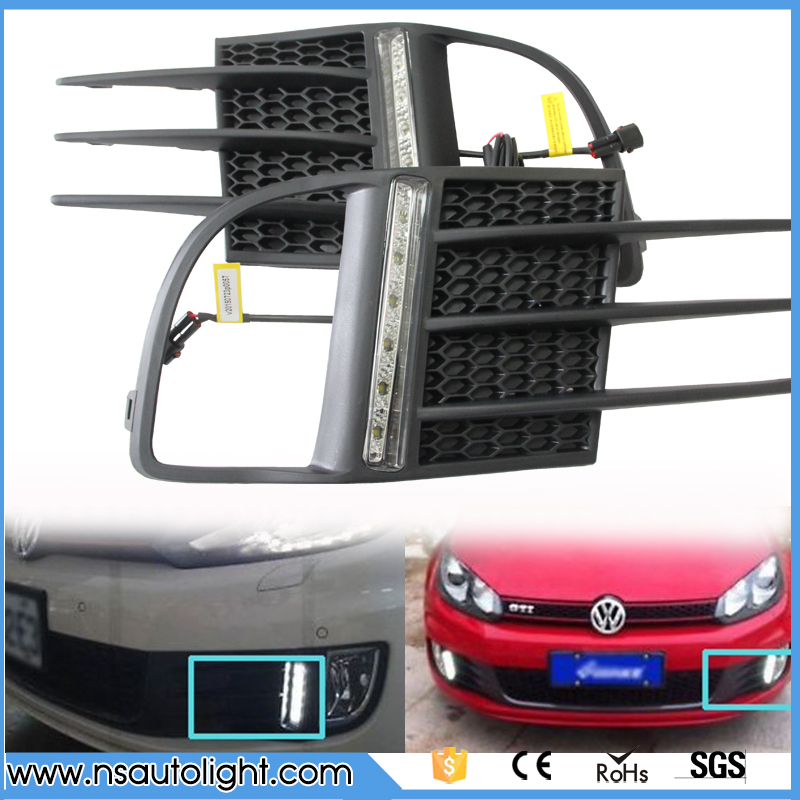 2pcs led drl light  for Volkswagen GOLF MK6 GTI 2009~2014 White  replacement LED Daytime Running Lights DRL Front Fog Lamps 2009 2011 year golf 6 led daytime running light