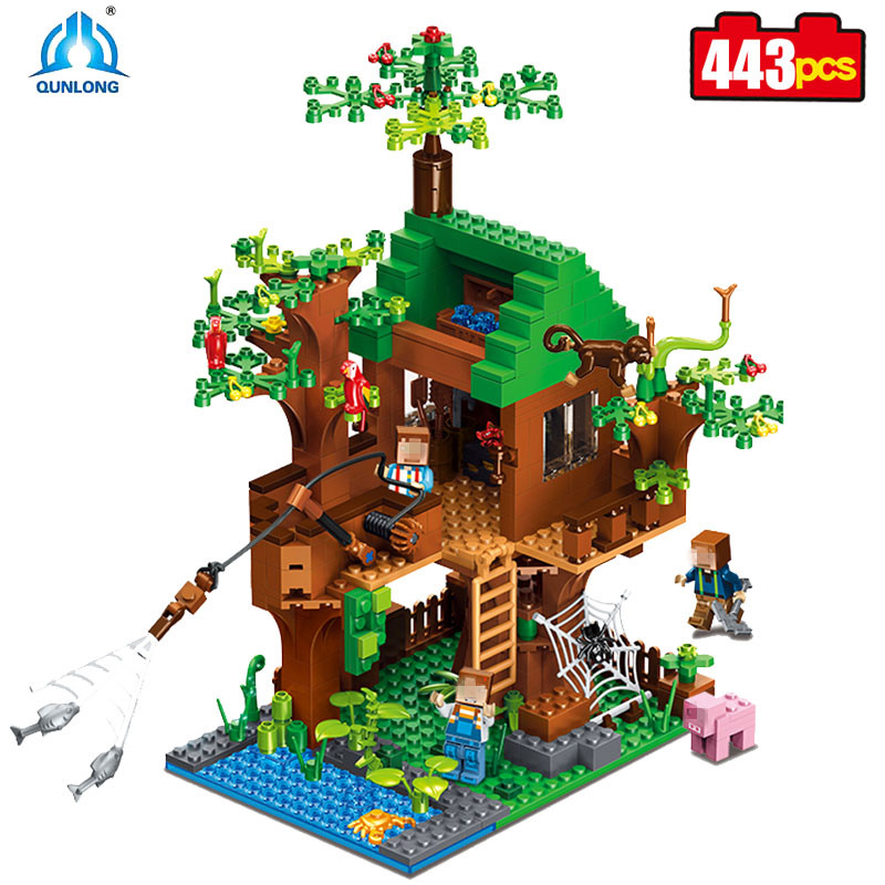 The Jungle Tree House My World Building Blocks DIY Forest kits Bricks Toys For Kids gift 21125 Compatible Legos Minecraft City lepin minecraft 504pcs the forest secret my world figures building blocks bricks fun castle house toys for children gifts