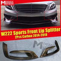 Per W222 Sport Labbro Anteriore Splitter Air Flow Vent Materiale In Fibra di Carbonio 2 Pcs Nero Paraurti Splitter Ala Spoiler Styling 2014-18