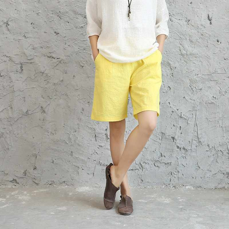 fc3422bbce948e Solid Neon Candy color Cotton linen Women Shorts White Yellow Green Casual  Summer Shorts Pink Red