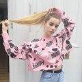 Women Lazy crop top sweatshirt pink 2017 harajuku korean ulzzang t.umblr tumblr pale soft grunge goth tumblrgirl crop top