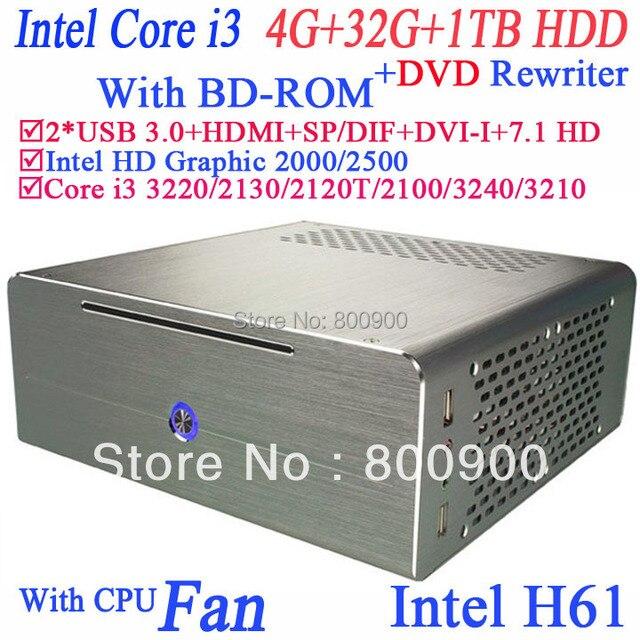 New Core i3 car mini pc USB 3.0 with HyperThreading bluray DVD rewriter BD-ROM 4G RAM 32G SSD 1TB HDD 3MB cache Intel HD Graphic