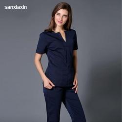 hospital medical scrub clothes set dental clinic and beauty salon nurse uniform Fashion Slim Fit surgical white coat spa uniform