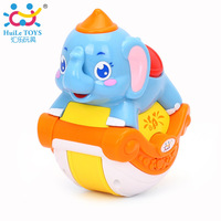 HUILE TOYS 3105C Baby Toys Musical Sliding Animals Elephant with Lights & Music Electronic Toys Pets Toys for Children Boy Gifts