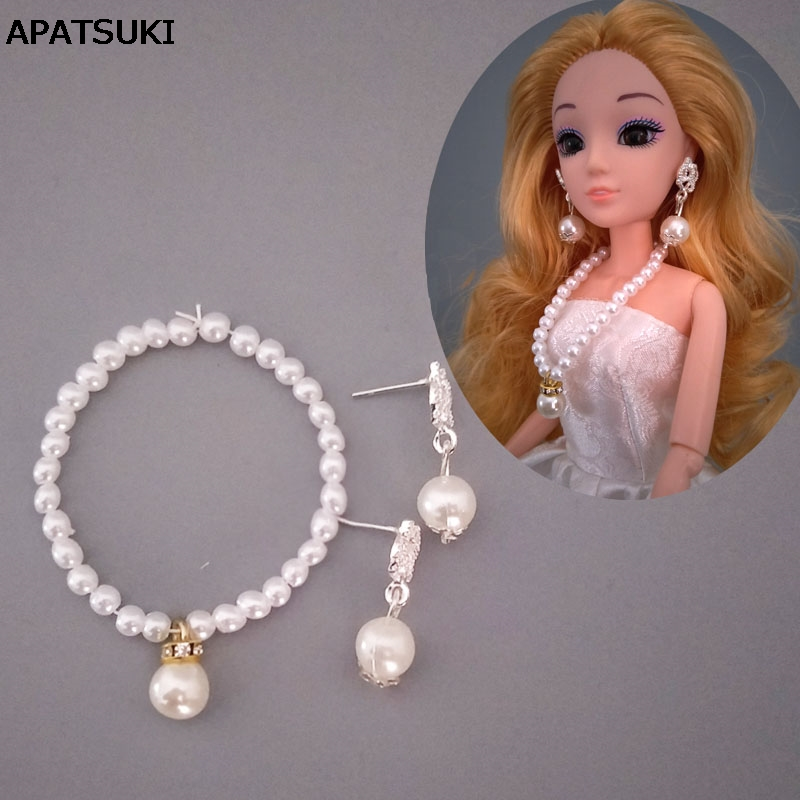 1/6 Doll Accessories Imitation Pearl Jewelry Necklace For Barbie Doll Fashion Decoration Earring For 1:6 BJD Dolls Baby Doll Toy