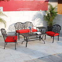 5 person Sofa set solid Cast aluminum outdoor furniture converstaion patio set leisure seater with cushion