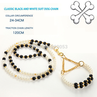 Luxury Pearls Dog Puppy Collar Leash Set Pet Leash Lead With Beads
