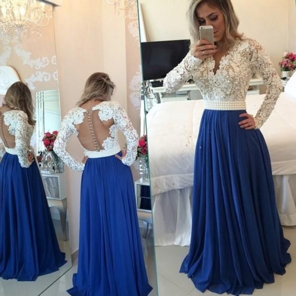 Luxury Pearl Beaded Long Sleeve Royal Blue White Lace Evening