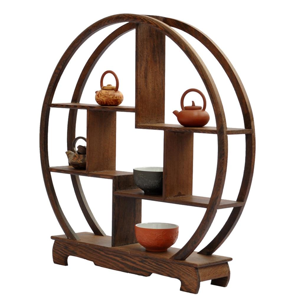 Base de caoba redonda artesanía wenge estante antiguo estante de - Decoración del hogar