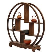Round mahogany base crafts wenge Shelf antique wooden curio shelf rack living room Decoration