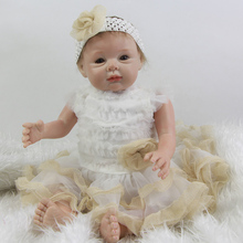 Brown Eyes 22 Inch Reborn Silicone Baby Dolls Soft Vinyl Lifelike Newborn Princess Girl Babies With Classic Dress Kids Playmate
