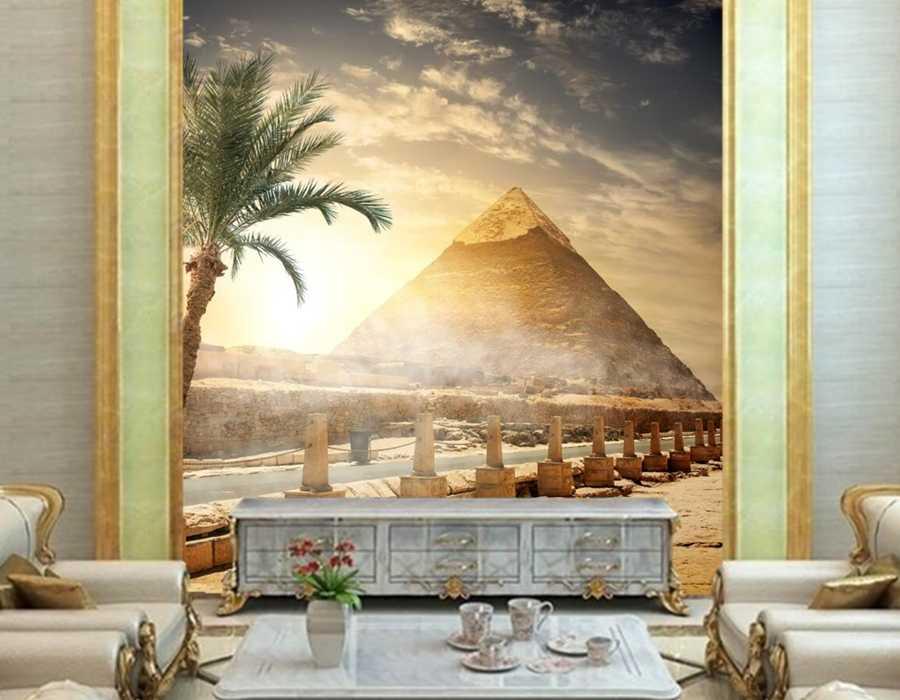 Murales 3D personalizados, papel de pared, papel tapiz de Naturaleza de pirámide del cielo del desierto de Egipto, papel tapiz de fondo de dormitorio de sala de estar bar sofá TV