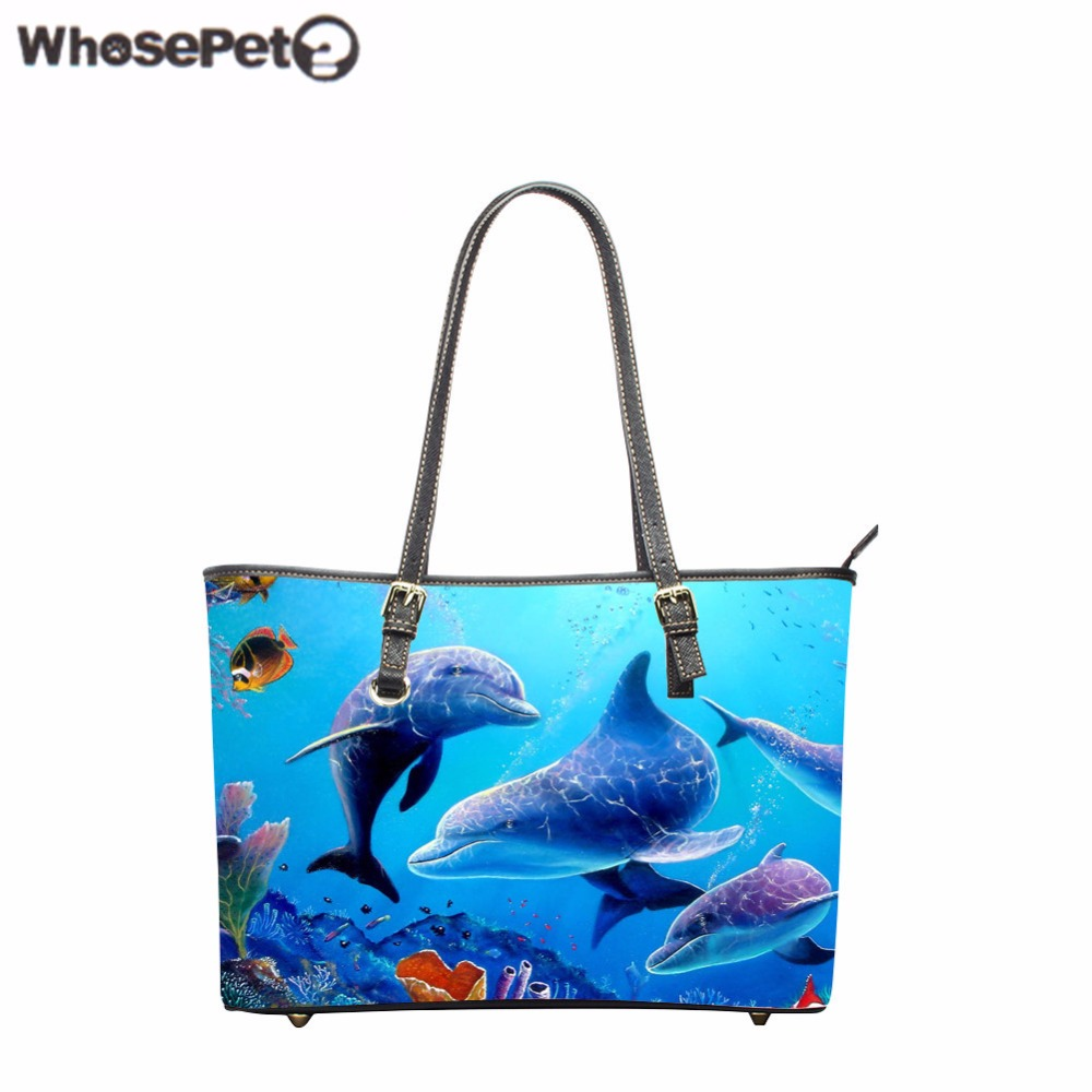 WHOSEPET Cute Dolphin Pattern Totes Large Women's Travel Handbags Casual Shoulder Bags for Ladies Women Pu Leather Bag Tote Bag missoni for target travel tote colore chevron pattern
