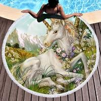 UJXS Round Beach Towel for Kids Adults unicorn Printed Tassel Yoga Mat Large Towel Microfiber tapestry 150cm 59in
