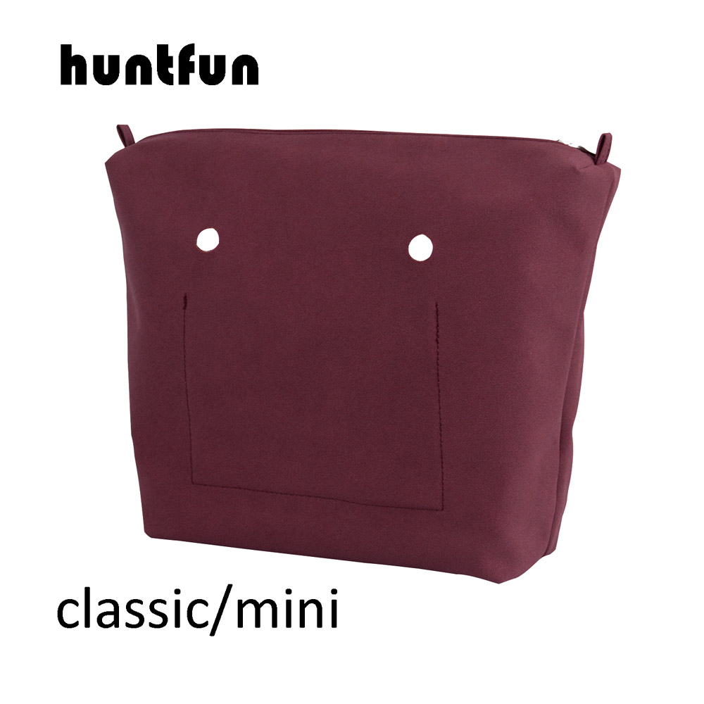 Huntfun PU Nubuck Frosted Leather Waterproof Inner Lining Zipper Pocket For Obag Classic Mini  Lining Insert For O BAG