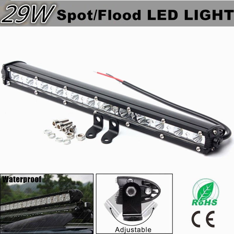 13Inch 2520LM Flood Spot Beam Car Slim LED Work Light Bar LED Lamp Truck Offroad Driving Vehicle White 6000K 9-32V Waterproof